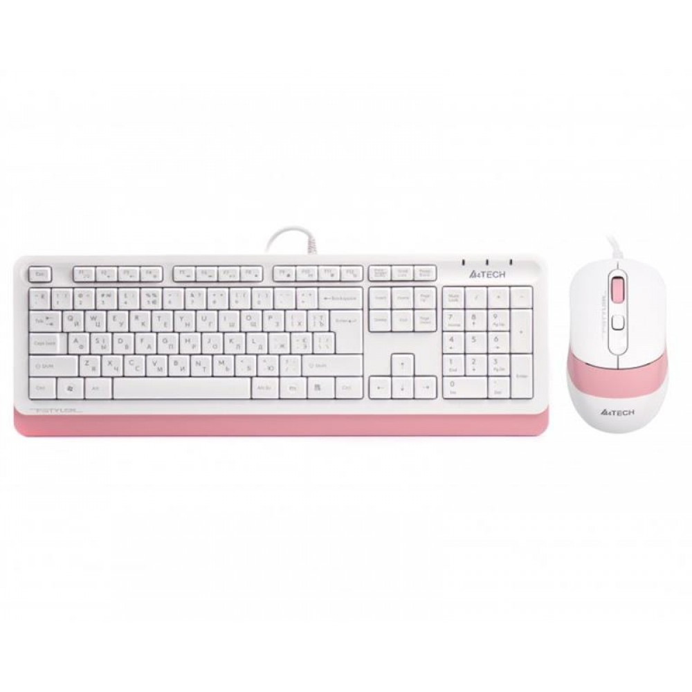 Комплект (клавиатура, мышь) A4Tech F1010 White/Pink USB