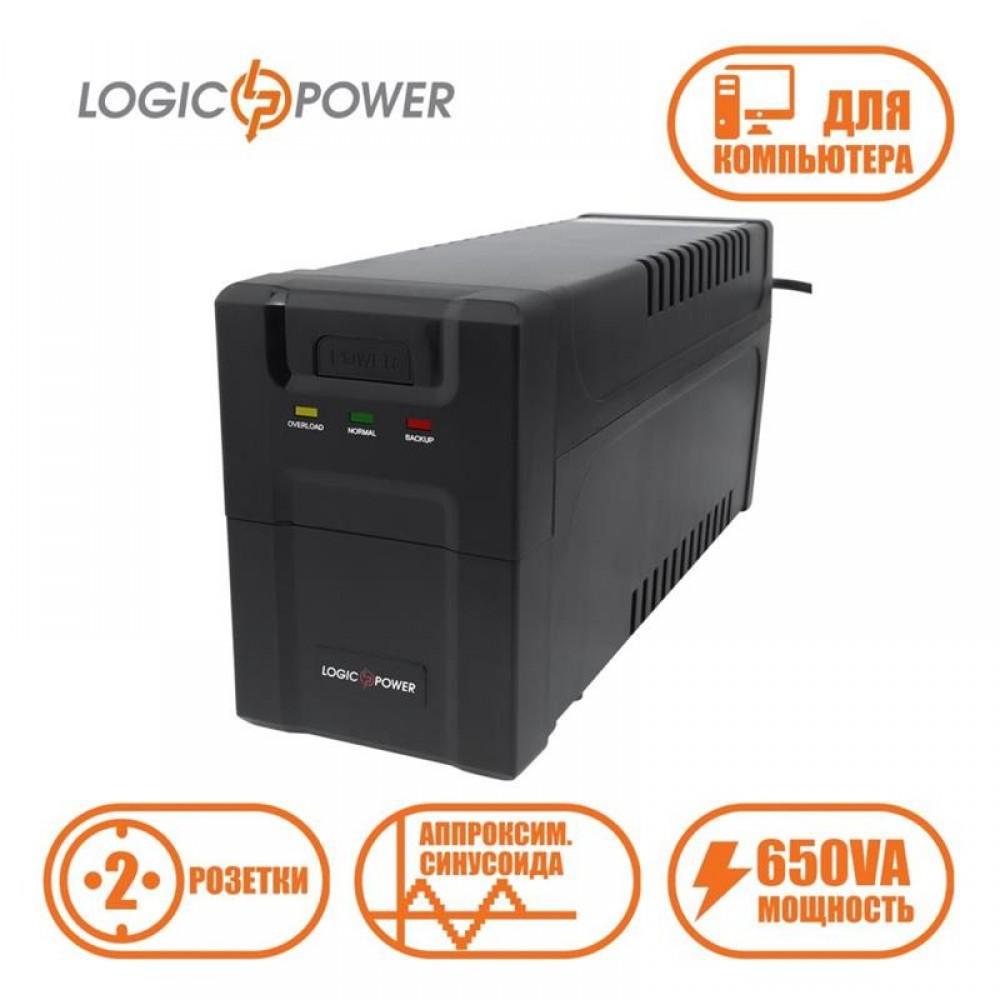 ИБП LogicPower U650VA-P, Lin.int., AVR, 2 x евро, USB, пластик