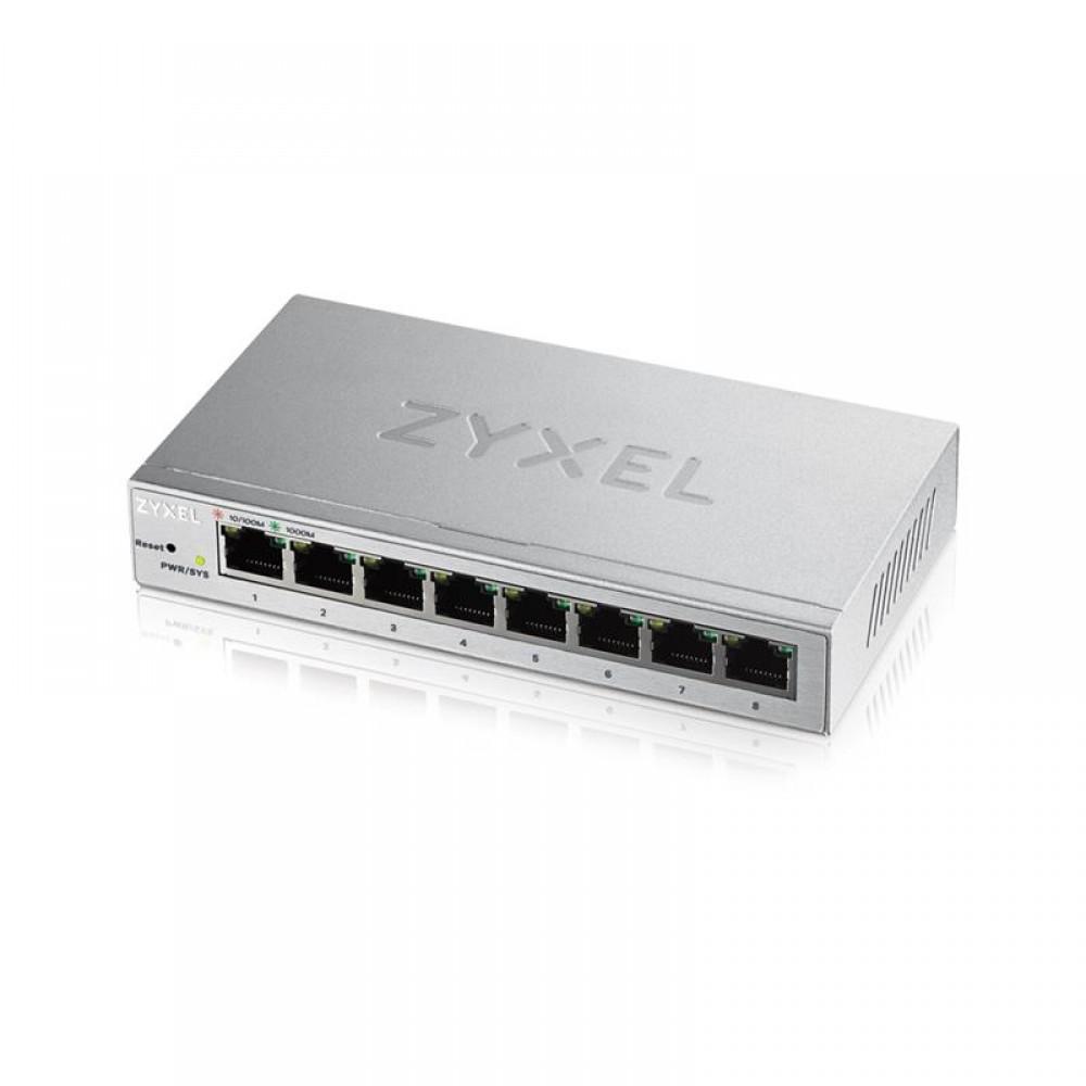 Коммутатор ZYXEL GS1200-8 (8xGE,металл, настольный, бесшумный, WebSmart)
