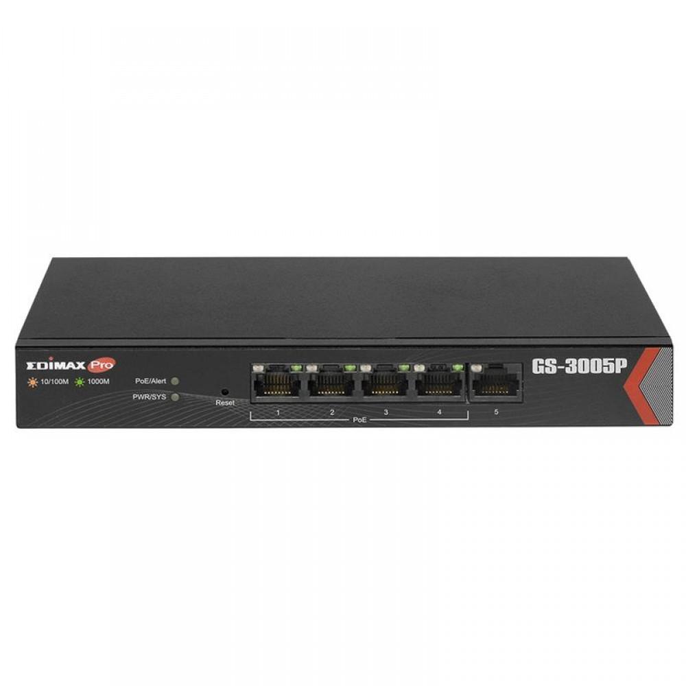 Коммутатор Edimax GS-3005P (1xGE + 4xGE PoE+, max 72W, питание до 200м, Fan-less, Web Smart)