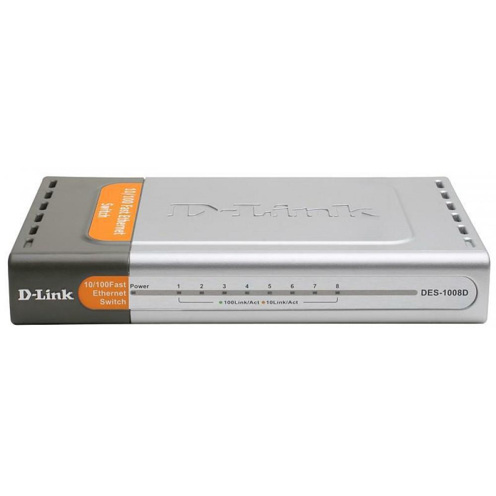 Коммутатор D-Link DES-1008D (8*FE, Metall)