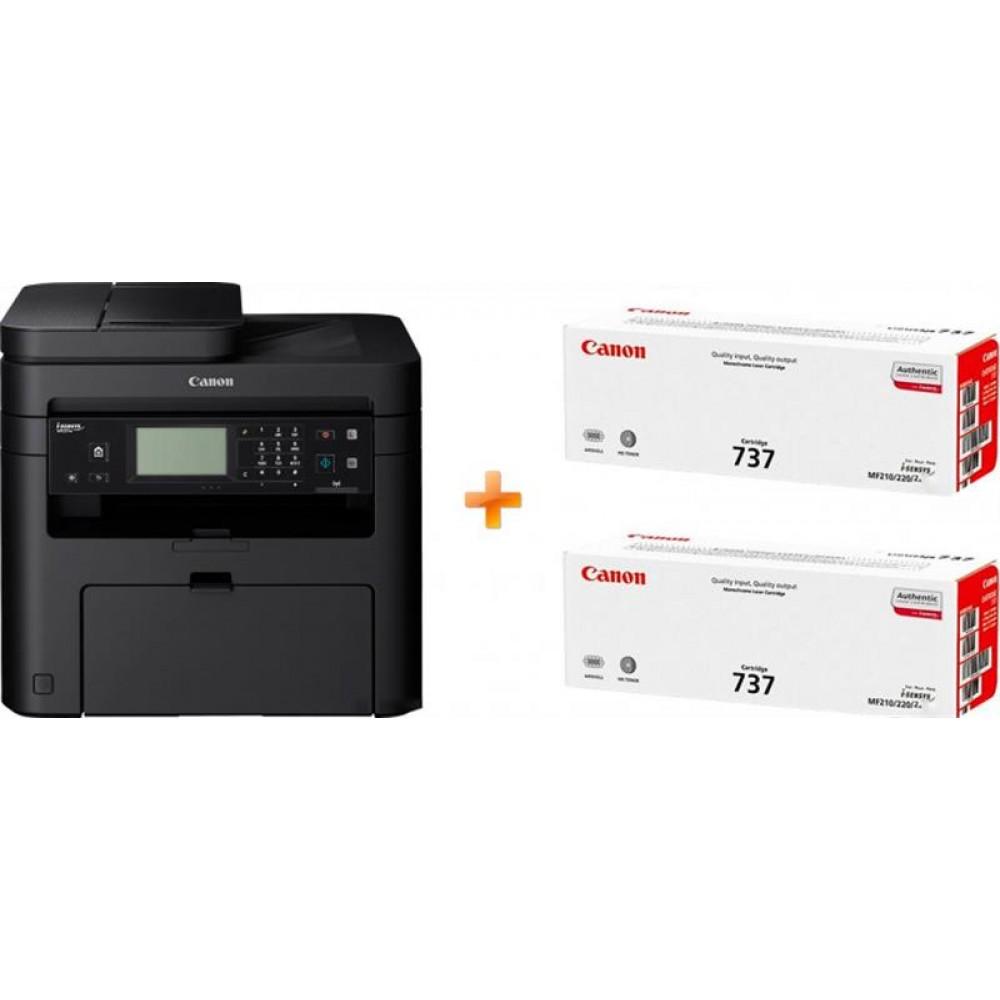 МФУ А4 ч/б Canon i-SENSYS MF237w c Wi-Fi (1418C170AA) + 2 картриджа Canon 737