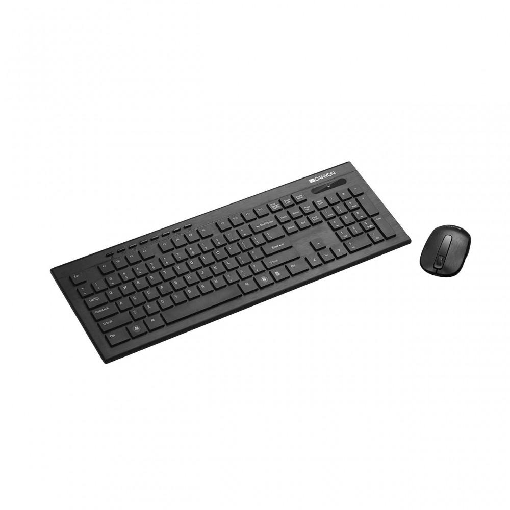 Комплект (клавиатура, мышь) беспроводной Canyon CNS-HSETW4-RU USB Black