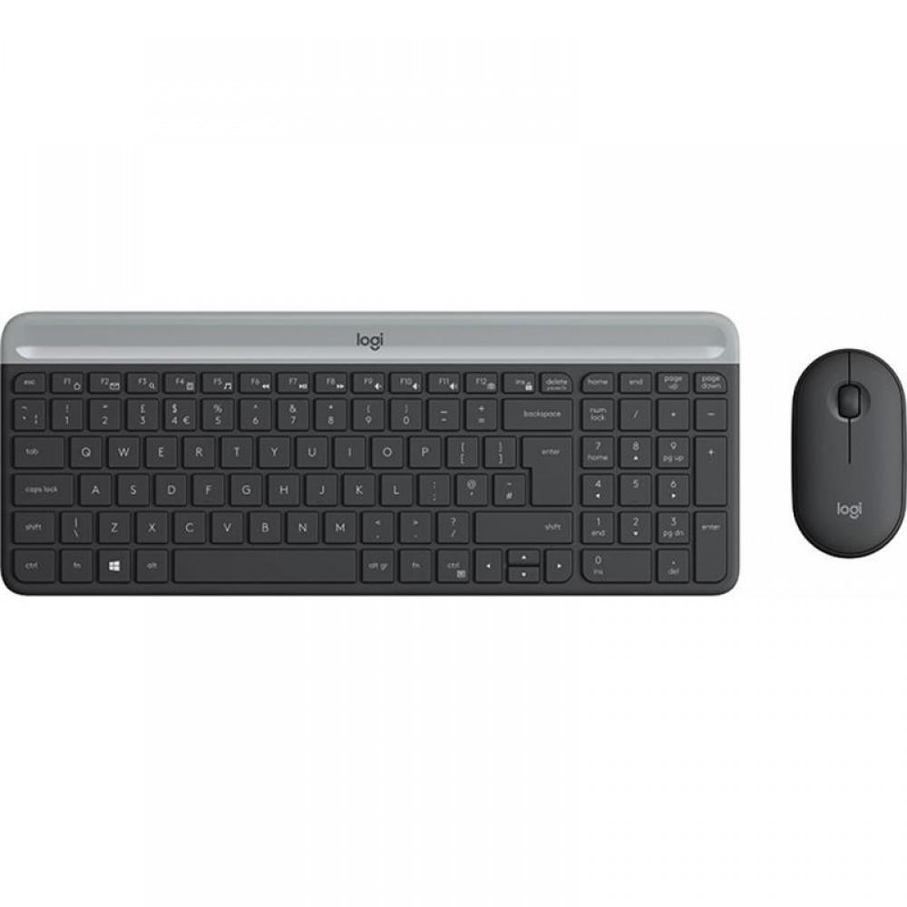 Комплект (клавиатура, мышь) Logitech MK470 Wireless Slim Graphite (920-009206)