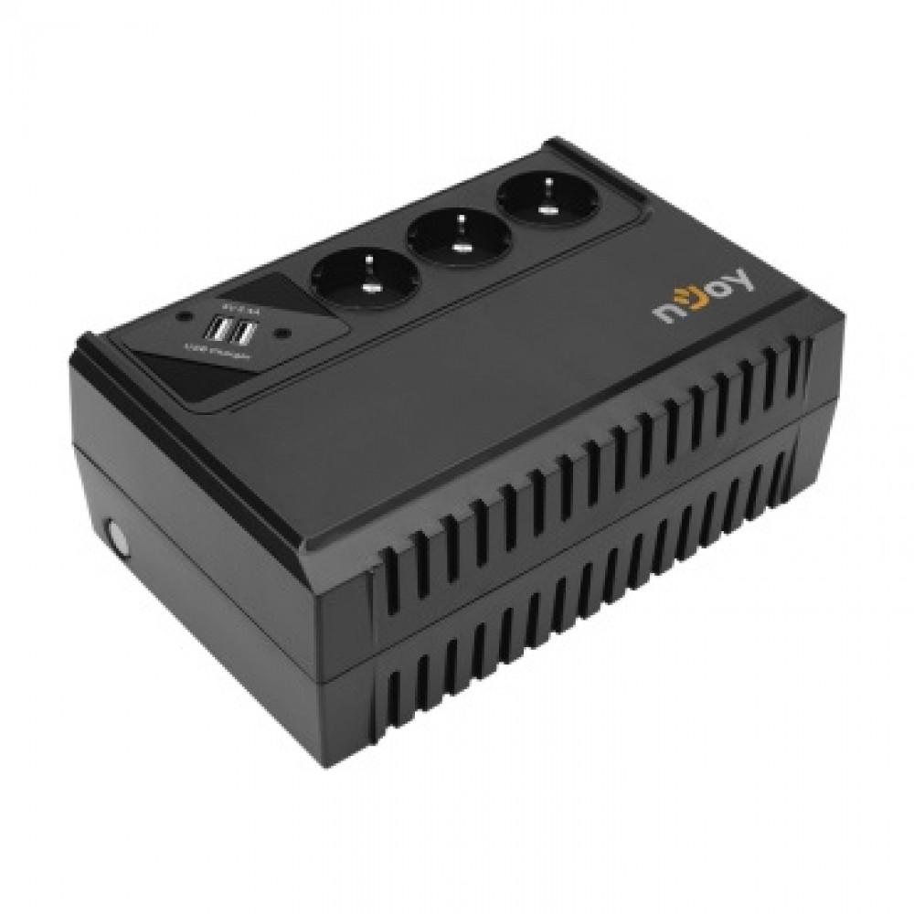 ИБП NJOY Renton 650 (UPLI-LI065RE-CG01B) Lin.int., AVR, 3 x евро, USB , пластик