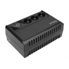 ИБП NJOY Renton 650, Lin.int., AVR, 3 x евро, USB , пластик