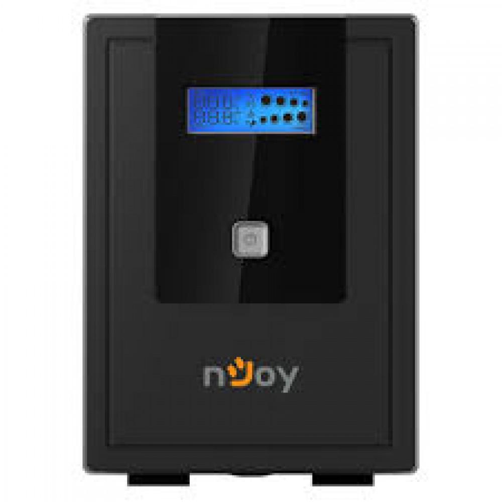 ИБП NJOY Cadu 650 (UPCMTLS665TCAAZ01B), Lin.int., AVR, 2 x Schuko, USB, LCD, пластик