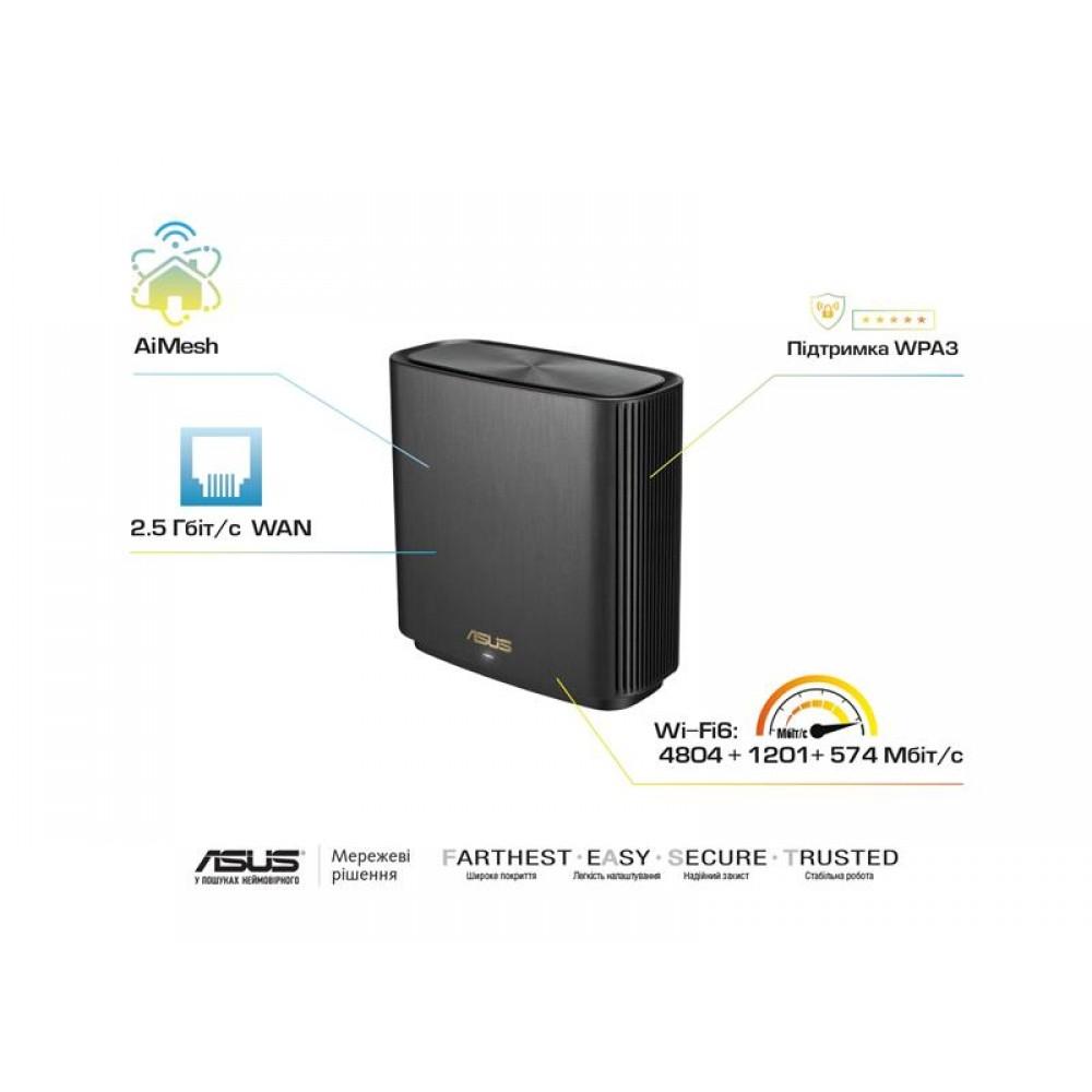 Беспроводной маршрутизатор Asus ZenWiFi XT8 Black (XT8-1PK-BLACK) (AX6600, 1x2.5GE WAN, 3xGE LAN,  1xUSB3.1, WiFi6, AiMesh, WPA3, OFDMA, 6 антенны)