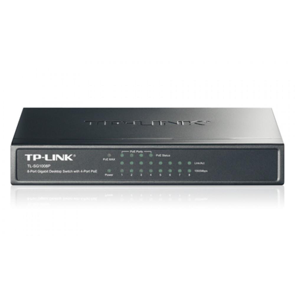 Коммутатор TP-Link TL-SG1008P (4x1000Mb+4PoE 53Вт max)